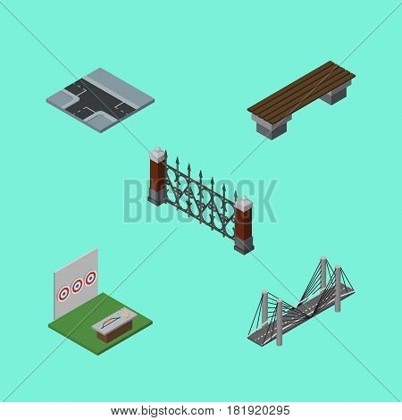 Isometric Urban Set Of Bench, Fence, Bridge And Other Vector Objects. Also Includes Archery, Suspension, Seat Elements.