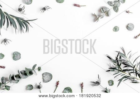 Trendy design with eucalyptus pattern on white desk background top view mock up