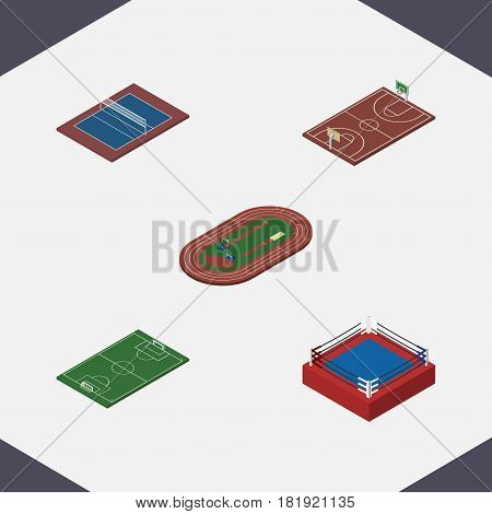 Isometric Sport Set Of Fighting, Run Stadium, Tennis And Other Vector Objects. Also Includes Football, Fighting, Arena Elements.