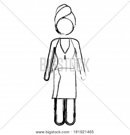 blurred silhouette pictogram of woman in one piece swimsuit with towel in head and waist vector illustration