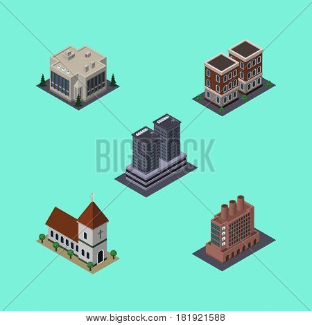 Isometric Building Set Of Chapel, Industry, Company And Other Vector Objects. Also Includes Office, Factory, Church Elements.
