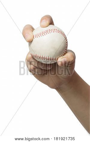 Close up hand holding a baseball on white background. File contains a clipping path.