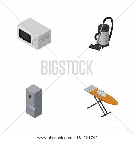 Isometric Electronics Set Of Vac, Cloth Iron, Kitchen Fridge And Other Vector Objects. Also Includes Vacuum, Fridge, Cloth Elements.