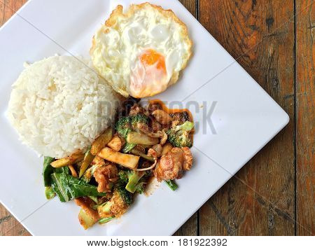 Stir Fried Chicken With Roasted Chili Paste And Sweet Basil Leaf, Broccoli, Mushroom Mixed Vegetable