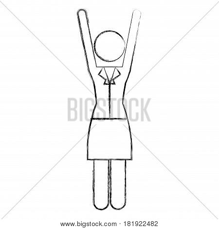 sketch silhouette pictogram of business woman in dress with extended arms vector illustration