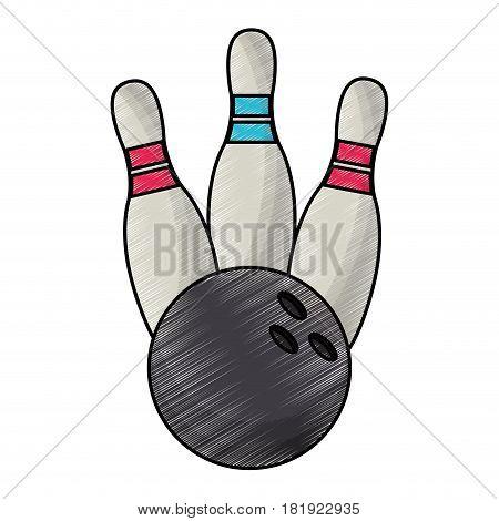 drawing bowling ball pin equipment vector illustration eps 10