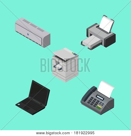 Isometric Cabinet Set Of Laptop, Printing Machine, Scanner And Other Vector Objects. Also Includes Telephone, Computer, Machine Elements.