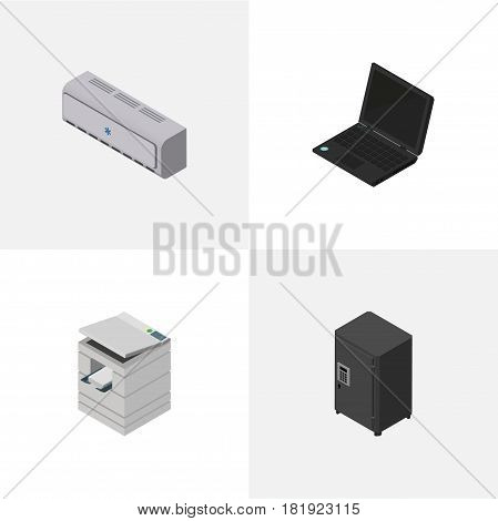 Isometric Business Set Of Laptop, Wall Cooler, Strongbox And Other Vector Objects. Also Includes Photocopier, Scanner, Strongbox Elements.