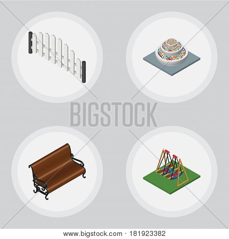 Isometric City Set Of Plants, Seesaw, Barricade And Other Vector Objects. Also Includes Decoration, Park, Plants Elements.