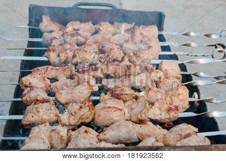 The Shish Kebab Is Fried On A Brazier. Preparation Of A Shish Kebab.