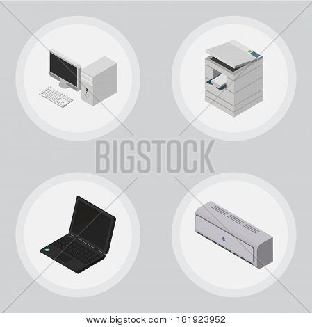 Isometric Office Set Of Wall Cooler, Computer, Laptop And Other Vector Objects. Also Includes Laptop, Notebook, Computer Elements.