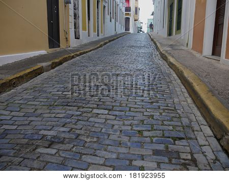 Cobblestone street of Old San Juan, Puerto Rico Narrow cobblestone streets add to the quaint atmosphere of Old San Juan, Puerto Rico.