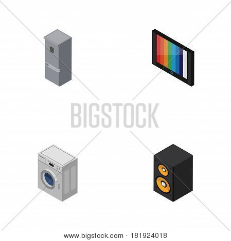 Isometric Device Set Of Kitchen Fridge, Music Box, Television And Other Vector Objects. Also Includes Loudspeaker, Tv, Fridge Elements.