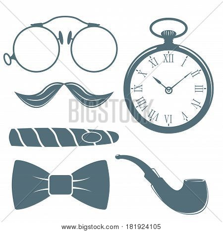 Vintage style design hipster gentleman symbol vector illustration antique graphic design retro element. Premium quality man shop classic fashion moustache club barber sign gray silhouette.
