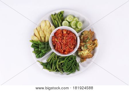 Spicy Meat And Tomato Dip Call Nam Prik Ong.