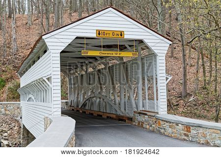 The Knox Covered Bridge in Valley Forge National Historical Park spans Valley Creek in Chester County Pennsylvania USA