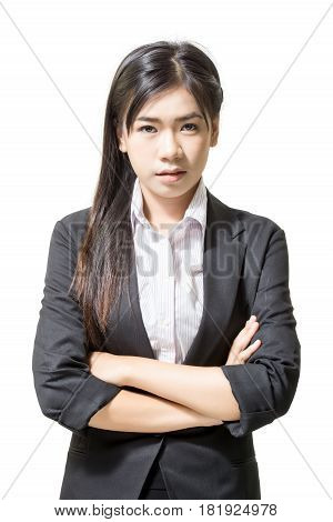 Portrait of asia young business women. Isolated on a white background.