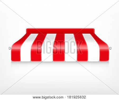 Striped awning. Protection from sun and rain. Vector icon. EPS10