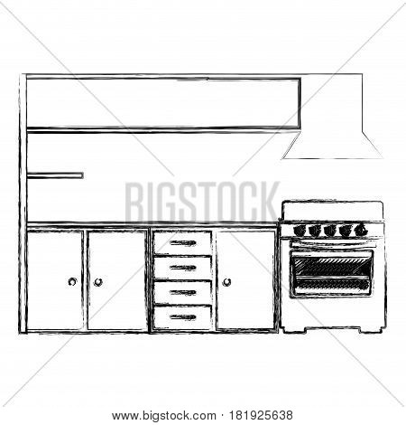 blurred silhouette of modern kitchen cabinets with stove vector illustration