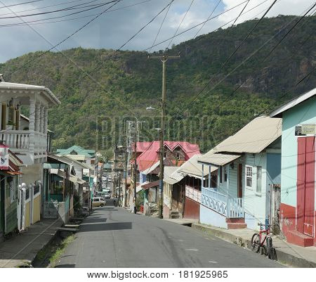 Street in Soufrière, St. Lucia The narrow streets bordered by old houses is one attraction that draws visitors to Soufrière, St. Lucia.