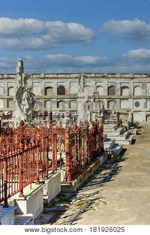 Cienfuegos, Cuba - Jan 13, 2017: Reina Cemetery in Cienfuegos Cuba. This cemetery contains the tombs of Spanish soldiers died during the 19th century freedom fight in Cuba.