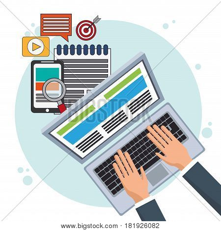 digital marketing online promotion e-commerce vector illustration eps 10