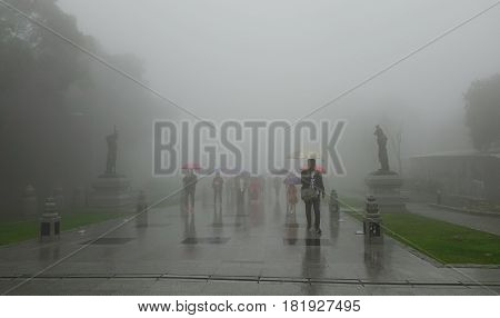 People Walking Into The Misty Foggy Road