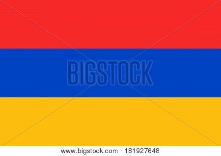 Armenia national flag, tricolour, three horizontal bands, red, blue, orange, symbolic element, patriotic symbol of country, flat vector illustration