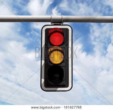 Traffic Light - Red-yellow Against Sky