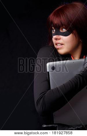Brunette in mask and gloves