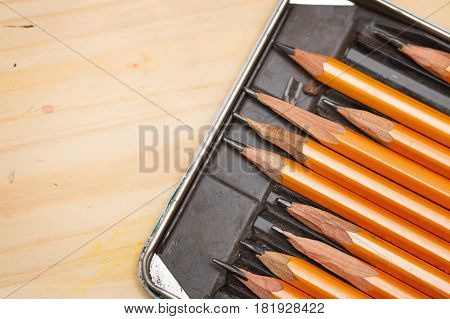 Set of graphite pencils of different hardness. Art supplies. Creative expression tools.
