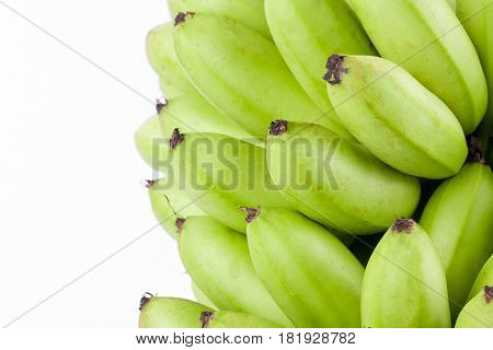 oganic green  raw egg bananas  on white background healthy Pisang Mas Banana fruit food isolated poster