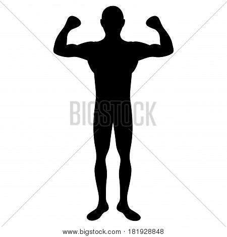 black silhouette big muscle man fitness vector illustration