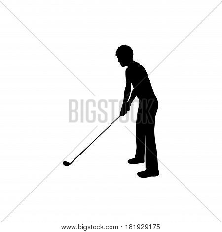 black silhouette man playing golf vector illustration