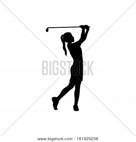 black silhouette girl playing golf vector illustration