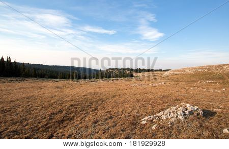 Sunrise over Lost Water Canyon Ridge meadow in the Pryor Mountains of Wyoming USA