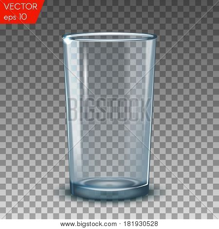 Empty transparent drinking glasses isolated vector illustration