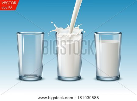 Transparent realistic glasses of milk on blue background, nutricious and organic, for breakfast
