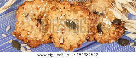 Oatmeal Cookies On Boards, Healthy Dessert Concept