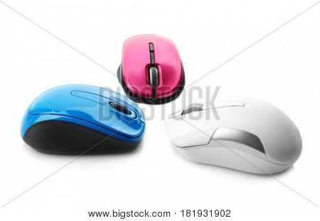 Wireless computer mice on white background