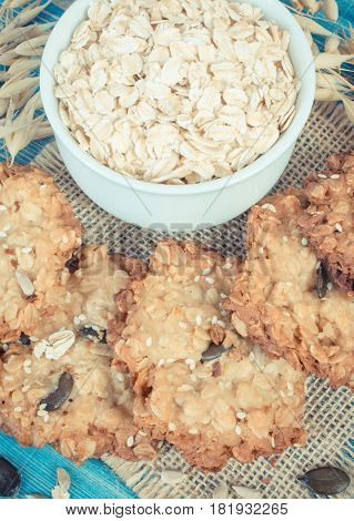 Vintage Photo, Oatmeal Cookies, Flakes And Ears Of Oat, Healthy Dessert Concept