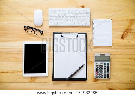 Office Desk Table With Computer, Supplies, Analysis Chart, Calculator, Pen And Glasses .(selective F