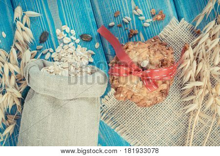 Vintage Photo, Oatmeal Cookies, Flakes In Jute Bag And Ears Of Oat, Healthy Dessert Concept