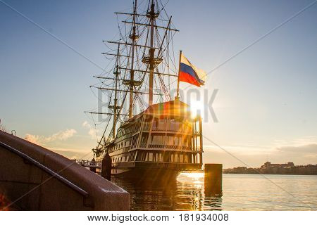 St. Petersburg-04.16.2017: Three-masted frigate on the embankment of the Neva River