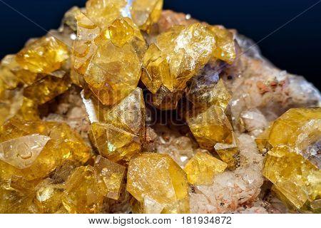 Citrine geode geological crystals - gem, detail.