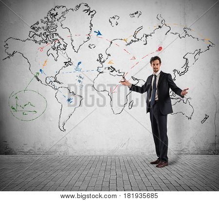 Concept of businessman that plans a global business and marketing strategy