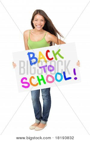 University Student Holding Back To School Sign
