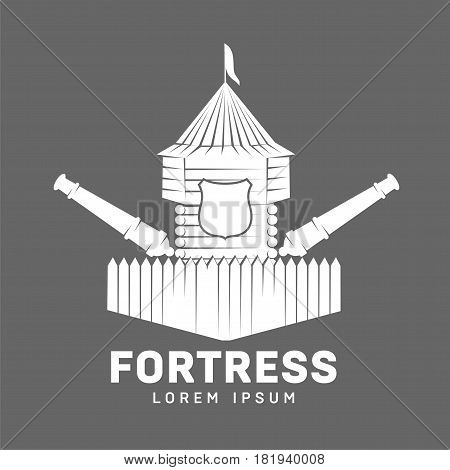 Abstract vector fortress label and logo template. Castle symbol. Wood tower silhouette with flags and spear. Template for business card, poster, banner, design elements. Isolated on color background.