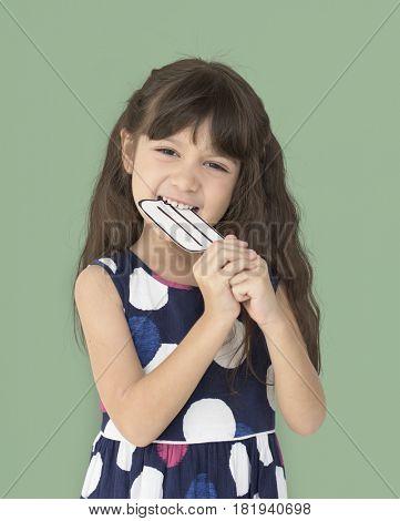 Little Girl Smiling Eating Icecream