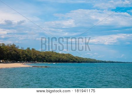 Pine trees along the beach and beautiful sea at east coast of Rayong Thailand